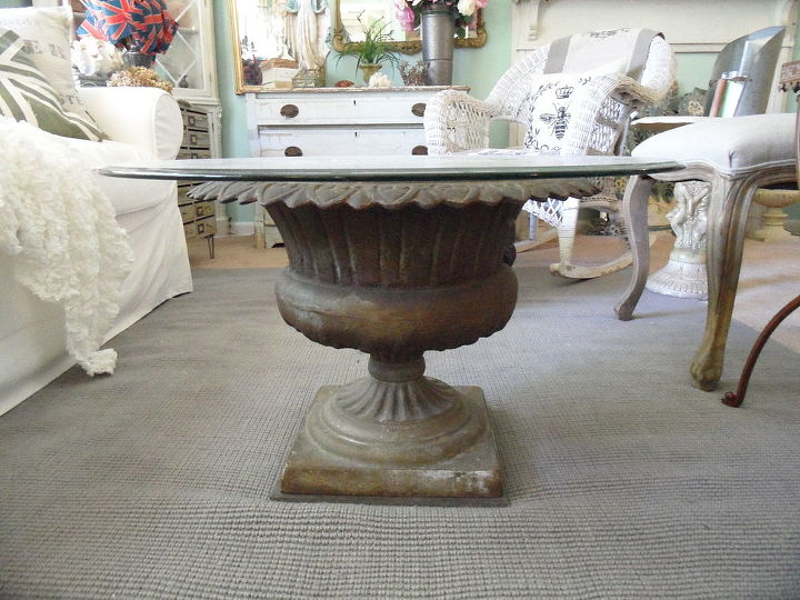 Diy garden urn turned coffee table hometalk for Cast iron outdoor coffee table