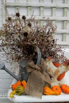 my favorite garden repurpose potting sink fountain, gardening, outdoor living, seasonal holiday decor, thanksgiving decorations, Thanksgiving dried seed heads pods in an old galvanized watering can