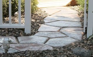quick set concrete makes a stone look walkway, concrete masonry, landscape, outdoor living, Quick Set Stone Shaped Walkway