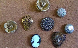 use vintage jewelry and buttons to make push pins, crafts