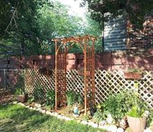 hiding unsitely fence areas, fences, outdoor living, With the Arch