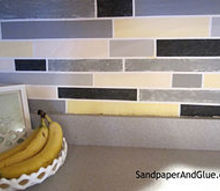 diy faux tile backsplash, kitchen backsplash, kitchen design, painting, the finished product up close