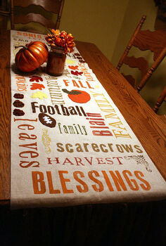 subway art fall table runner, crafts, seasonal holiday decor