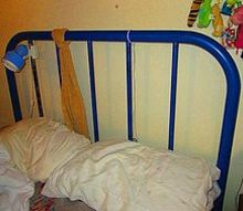 q how can i repaint my heavy iron bed frame, painted furniture, Blue paint has to go I want an old white hospital bed look so some chipping is ok but bright blue