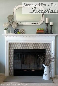 stenciled faux tile fireplace makeover, fireplaces mantels, home decor, living room ideas, Stenciled Faux Tile Fireplace Surround