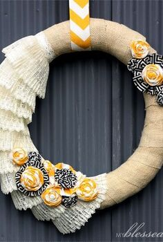 how to make a burlap and lace wreath, crafts, wreaths, Burlap and Lace Wreath with yellow and black accents Isn t it fun