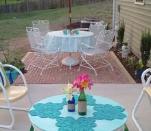 my husband and i finally finished the backyard used bricks from craigslist, decks, gardening, outdoor furniture, outdoor living, painted furniture, repurposing upcycling