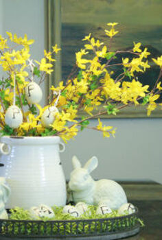 decorating for spring easter how about you, easter decorations, seasonal holiday d cor, DIY Pottery Barn inspired Happy Easter eggs and centerpiece