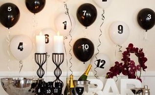 6 new year s eve party ideas, seasonal holiday d cor, Countdown 3 2 1 Set the scene for the big moment by transforming a folding table into a dramatic black and white bar Customize stemware as well as the balloons with peel and stick numbers Easy to keep track of your glass