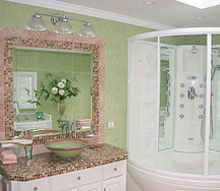 trd interior bath design amp project management, bathroom ideas, home decor, Custom cabinets with Bisazza tile countertop and mirror frame complimented with polished chrome fixtures