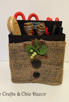 recycled six pack bottle container storage caddies, crafts, decoupage, repurposing upcycling, Used burlap paint buttons and a floral pick for this one