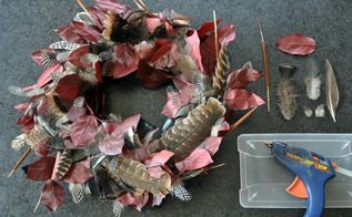 diy fall wreath with turkey feathers, crafts, seasonal holiday decor, wreaths, Almost done