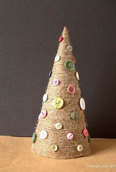 twine christmas tree, crafts, seasonal holiday decor, Create this Twine Christmas Tree with button ornaments and lots of glitz