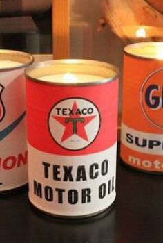 vintage oil can candles, crafts, Vintage inspired labels charm cream wax candles made in upcycled veggie cans