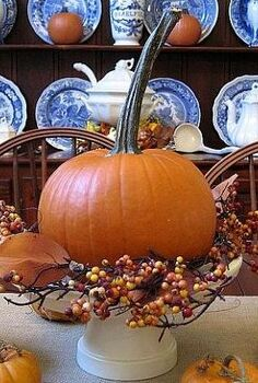 my dining room for fall bittersweet burlap and wonderful long stemmed pumpkins are, home decor, seasonal holiday decor, Love the contrast of the blue and white transferware with the pumpkins