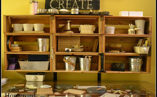 wall cubbies made from crates, kitchen cabinets, storage ideas, Wall Cubbie Crates
