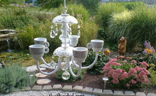 old chandelier makeover into garden candelier, outdoor living, repurposing upcycling, Garden Candelier After