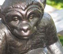 monkey makeover, crafts, painting, Now he s a handsome bronze gentleman