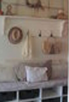 upcycled headboard into entry bench, foyer, repurposing upcycling, my new entry with headboard bench with basket cubby holes for shoes and socks shelf with hooks for hats and old window on top and display area