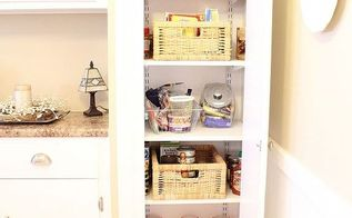 transform your broom closet into a pantry, closet, I added four shelves which keep us organized I have a larger pantry in the basement so I just keep the basics in the kitchen