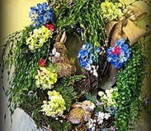 rabbit burrow spring wreath, crafts, easter decorations, seasonal holiday decor, wreaths, I wanted to leave some of the wreaths exposed with no foliage to represent the dirt or uncovered area surrounding the entrance of the burrow