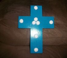 colorful wooden crosses, crafts, Simple but pretty in turquoise