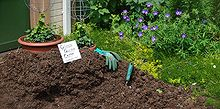 tips for applying mulch, container gardening, gardening, The last of our mushroom compost from last year