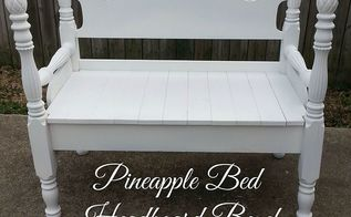 pineapple bed headboard bench, diy, painted furniture, repurposing upcycling