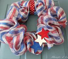 patriotic deco mesh wreath, crafts, patriotic decor ideas, seasonal holiday decor