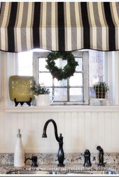kitchen makeover bistro style, home decor, kitchen design, kitchen island, Kitchen awning over sink