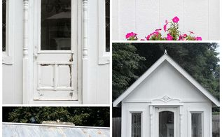 white garden cottage, diy, outdoor living, repurposing upcycling, woodworking projects, bits and pieces of the shed