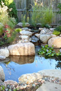 small water gardens, outdoor living, patio, ponds water features, This 4 x6 pond was installed using a DIY kit It sits right next to the patio providing a great view