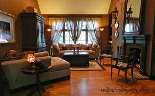 dark family room mini makeover, home decor, living room ideas, Burlap curtains made the space so much brighter