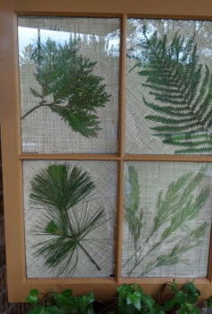 i made this from an old window and added beautiful collections from our yard, repurposing upcycling