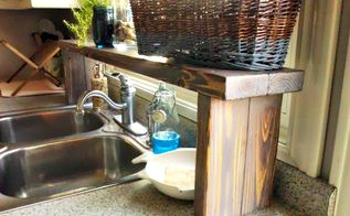over the sink shelf from pallet wood, diy, kitchen design, pallet, shelving ideas, woodworking projects, It has come in quite handy for making use of our vertical space