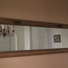 rustic mirror, home decor, repurposing upcycling, wall decor, woodworking projects, We got really lucky with this mirror because the wood we used to frame it was left over from another project we worked on