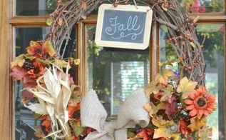 two fall wreaths, crafts, halloween decorations, seasonal holiday decor, This is the wreath I put up in September