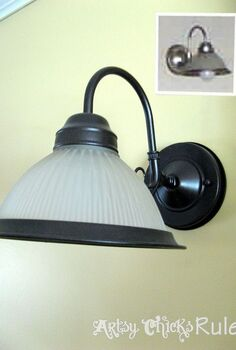 oil rubbed bronze spray paint so many uses, painting, A previously colored brushed nickel light fixture easily transformed with Oil Rubbed Bronze Spray Paint