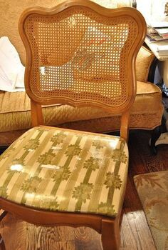 refresh and old caned back chair with tufting and upholstery, painted furniture, reupholster, Caned back chair before