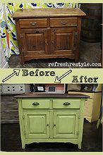 awesome green painted side board, painted furniture