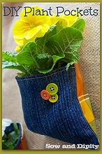diy plant pockets, crafts, gardening, repurposing upcycling, Use old jeans and an old vinyl tablecloth for the backing