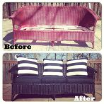 how to paint furniture from the experts at rust oleum, home decor, painted furniture, painting, Wicker Couch Before and After with Rust Oleum via Jessica P