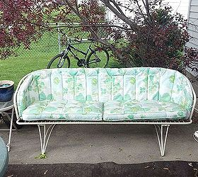 Beautiful Refurbished Vintage Patio Couch, Painted Furniture, Reupholster