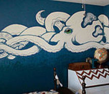 the giant octopus wall, bedroom ideas, home decor, painting, repurposing upcycling