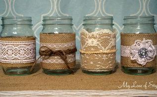 diy burlap and lace mason jars, crafts, home decor, mason jars, repurposing upcycling, shabby chic