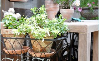 diy potting bench serving table, diy, flowers, gardening, outdoor furniture, outdoor living, painted furniture, We added window boxes we weren t using and pretty hooks to give the piece some personality