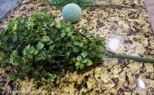 boxwood topiary tutorial, crafts, gardening, A floral foam ball and some greenery is the base for the topiary
