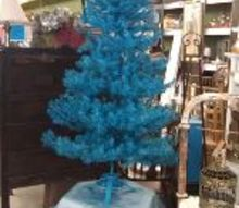 spray painted fake christmas tree, seasonal holiday d cor, 7 ft 3 part tree not prelit