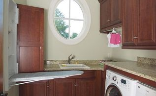 could these luxurious laundry rooms actually make doing laundry fun, laundry room mud room, Downstairs Laundry Room Hidden Ironing Board