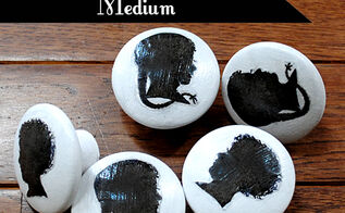 image transfer silhouette knobs tutorial, crafts, decoupage, windows, These are the knobs I created I think they would be fun to use on a Child s Coat Rack or a Dresser